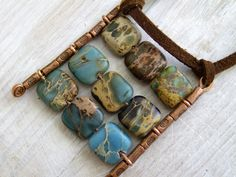 Nine squares pendant tile natural blue green mint turquoise gemstone on suede casual necklace Israel art made in Israel