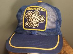 d9a3633a8147e Vintage 1970 s Michelin Tire Snapback Hat Blue Mesh Trucker Hat Made in the  USA