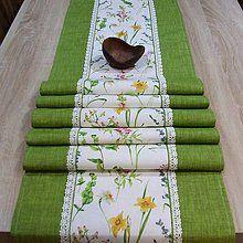 - Lúčne kvety so zelenou - stredový obrus 150x40 - 7857051_