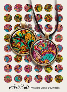 DECORATIVE CIRCLES - 1 inch and 1.5 inch size Printable digital images for pendants by ArtCult