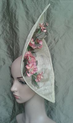 Cream Hat with Pink Flowers by TheElvishTailor on Etsy