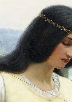 """Stitching the Standard by Edmund Leighton, 1911. (detail) """"I wished a companion to lie near me in the starlight, silent and not moving, but ever within touch. For there is a fellowship more quiet even than solitude, and which, rightly understood, is solitude made perfect.""""~Robert Louis Stevenson"""