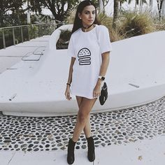 Minimalist White Burger Tee | Cottondish Cool Tees, Cool T Shirts, Sweater Tank Top, Millenial Fashion, Cheat Meal, Simple Shirts, Oversized Shirt, White Tees, Minimalist Fashion