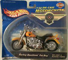 (TAS032097) - Mattel Hot Wheels 1:18 Die-Cast Motocycle Harley-Davidson Fat Boy