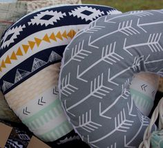 Boppy covers made with Arizona by Art Gallery Fabrics and Gray Arrows by Premier Prints