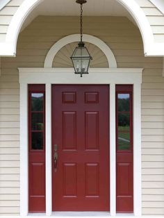 popular colors to paint an entry door | house siding, tan house