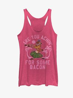 """Timon may love grubs but that doesn't mean he can't appreciate your love for bacon too on this tank top! Timon hula dances across this hilarious soft pink Lion King tank top with """"Are you Achin' For Some Bacon"""" printed down the front. Lion King Timon, Lion King Hakuna Matata, Halter Swim Top, Classic Girl, Slippers For Girls, Tank Girl, No Show Socks, Girls In Love, Racerback Tank Top"""