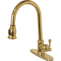 Gourmetier GS7882BL Vintage Polished Brass 8-Inch Centerset Low Lead Single Handle Kitchen Faucet with Pull-Down Sprayer