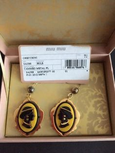 Authentic-Miu-Miu-Cameo-Metal-Earring-With-Tag-And-Box