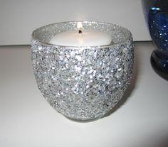 Votive Holders Silver Glitter Set of 2. $8.00, via Etsy.