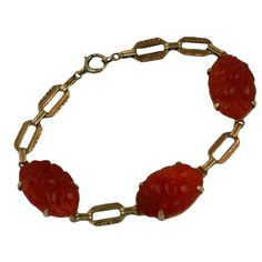 Art Deco Carved Carnelian 14kt Link Bracelet  usa  1920s