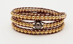 Bracelet ADN Flamboyant avec une perle de Tahiti ronde 8mm et perles gold filled
