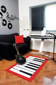 Sala de música ganha tapete de piano em patch apliquê