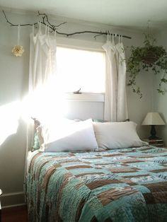 Use tree branches for curtain rods. As natural as can be and very sustainable. Not too mention, inexpensive and compostable. And I love organic look.