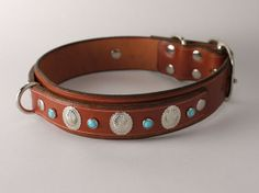 Western Leather Dog Collar with Turquoise