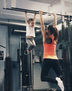 Start early. Pullups. Crossfit kids.@Alicia T Huber makes me think of Ava.  This would be an awesome photo with girls.
