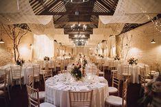 Larchfield Main Barn for Rachel & James Wedding Breakfast, Reception Areas, Blue Moon, Rachel James, Wedding Venues, Barn, Indoor, Table Decorations, Northern Ireland