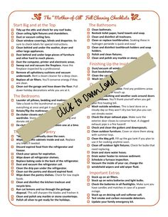 "The ""mother of all"" fall cleaning and winter preparation lists. A free download."