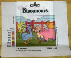 Long Stitch New Canvas, Needlepoint, Made in France, Tapestry, Unworked canvas, Sewing, Tapestries, DMC La ferme, teddy bear, pigs, geese, by TreasuredTapestries on Etsy