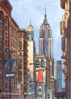 5x7 Print: View from 5th Ave NYC | Etsy 5th Avenue, Empire State, Colored Pencils, New York City, This Is Us, Nyc, Studio, Illustration, Prints
