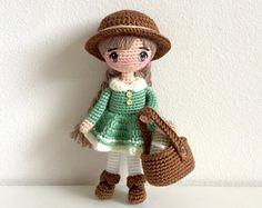 Mori Girl Doll Amigurumi Crochet Pattern - Fairy Tale Kawaii Anime Woodland Old English Country Fair Isle Plush Plushie Girls Stuffed Toy