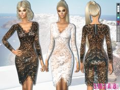 The Sims Resource: 203 - Lace transparent dress by sims2fanbg • Sims 4 Downloads