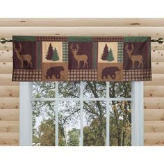 """Dress up your windows with the Cozy Cabin valance from Aubrie Home Accents. This printed curtain features a rustic patchwork pattern of trees, bears and deer in earthy shades of brown and green. It has a rod pocket holder on top for quick and easy hanging. Measuring 80"""" by 19"""", this valance fits large windows in living rooms, dining rooms and more. Try bunching it up for a gathered look on shorter windows. This window treatment is made from polyester and is machine washable for easy care."""