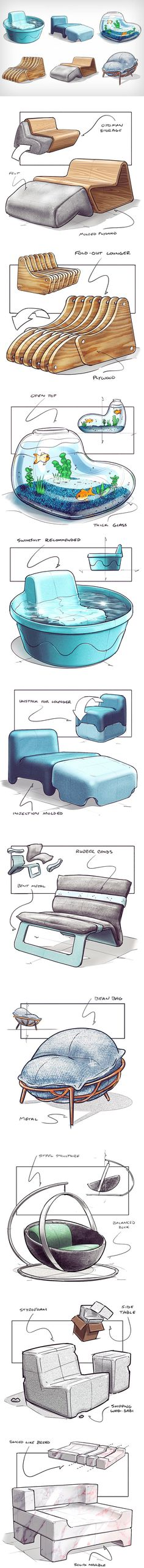 Given the hashtag of Baker uploads unusual conceptual chair designs almost every week. The chairs showcase inventiveness that one rarely sees in furniture design, as concepts take inspiration from quite literally anywhere. Scroll down Furniture Layout, New Furniture, Furniture Design, Trendy Furniture, Bungalow Haus Design, House Design, Deco Design, Design Art, Industrial Design Sketch