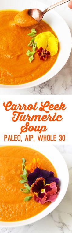 Carrot Leek Turmeric Soup from Unbound Wellness