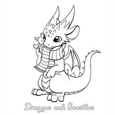 Inktober: Mohawk Dragon by DragonsAndBeasties on DeviantArt Cute Dragon Drawing, Drawing Programs, Dragon Coloring Page, Baby Drawing, Cute Dragons, Alien Art, Little Dragon, Dragon Art, Coloring Book Pages