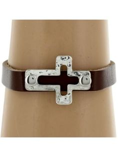 Brown Leather and Silvertone Cut Out Cross Bracelet