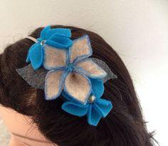 Flower Headband Handmade Felt Flowers Aqua by HalesBeeHandmade