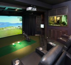 Marvelous Movie Theater decorating ideas for Good-Looking Home Theater Traditional design ideas with amenity den entertainment family room golf simulator home theatre man-cave Lofts, Volkswagen Golf, Golf Man Cave, Home Golf Simulator, Golf Room, Golf Simulators, Home Theater Design, Traditional House, Traditional Design