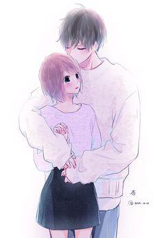 Ik this isn't anime related BUT! Anime Couples Hugging, Anime Couples Manga, Manga Anime, Romantic Anime Couples, Anime Guys, Manga Couple, Anime Love Couple, Anime High School, Anime Triste