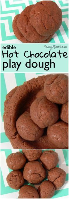 Christmas & Winter Activities: My kiddos had so much fun playing with this sweet-smelling hot chocolate play dough (and it's totally edible). I loved how easy it was to make. Edible Crafts, Fun Diy Crafts, Kids Crafts, Simple Crafts, Craft Projects, Toddler Crafts, Play Doh, Keto Desserts, Chocolate Play Dough Recipe