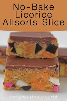 This is an easy, yet yummy licorice allsorts slice.