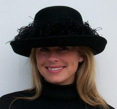 Black Fur Felt Breton/Ostrich....fun, warm and fits larger head sizes...from Hat-a-Tude.com