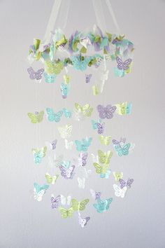 Butterfly Mobile- Lavender, Green, Blue & White- Baby Shower Gift, Photographer Prop, Nursery Decor via Etsy.