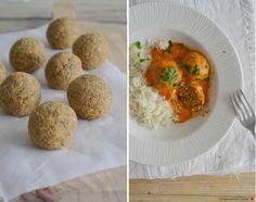 Lentil balls with coconut milk and tomato sauce. Vegan, gluten-free | Compassionate Cuisine.