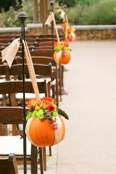 Cute idea for a fall wedding - mini pumpkin lined wedding aisle decor. Wedding Aisles, Wedding Aisle Decorations, Fall Wedding Centerpieces, Fall Wedding Flowers, Church Wedding, Wedding Ideas, Wedding Colors, Pew Decorations, Decor Wedding