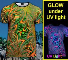 43f686cd8 rave psychedelic t-shirt Glow under UV black light fluorescent fractals dj party  club psy trance mandala meditation Goa shiny symbols yoga