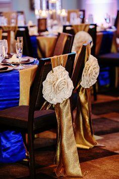 Gold & royal blue glam chair decor  #timelesstreasure