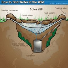 After youve seen a solar still work, you begin to think of dozens of ways to make them out of ordinary items like two liter bottles for example.  You should know multiple ways to provide yourself with clean water. survival-gear