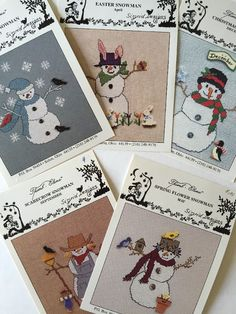 Lot of 5 Snowman Snowmen Cross Stitch Chart Patterns Thimb Elena Sigrid Designs | eBay