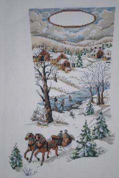 Winter Scene Counted Cross Stitch Christmas by mylilsmidget