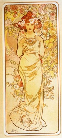 """Rose - From """"The Flowers"""" Series - Color lithograph - Alphonse Mucha -  c. 1898"""