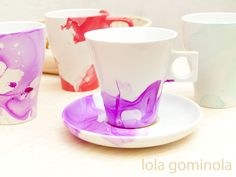 DIY Tazas estampadas con pintau�as Mug Designs, Diy Clothes, Crafty, Mugs, Cool Stuff, Tableware, Blog, Organizing, Enamel