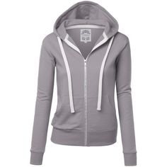 MBJ Womens Active Soft Zip Up Fleece Hoodie Sweater Jacket ($20) ❤ liked on Polyvore featuring tops, hoodies, hooded sweatshirt, fleece hoodies, fleece tops, fleece zip up hoodies and hoodie top