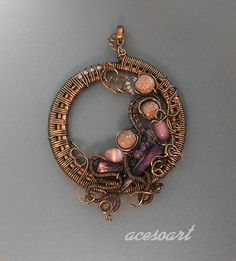 Copper and silver wire pendant by acesoart on deviantART