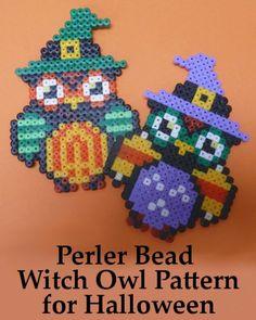 Make a perler bead witch owl design for Halloween